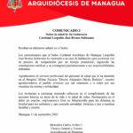COMUNICADO 3 sobre la salud de Su Eminencia Reverendísima Cardenal Leopoldo José Brenes Solórzano